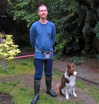 Dog trainer John and his dog Collie in Liverpool